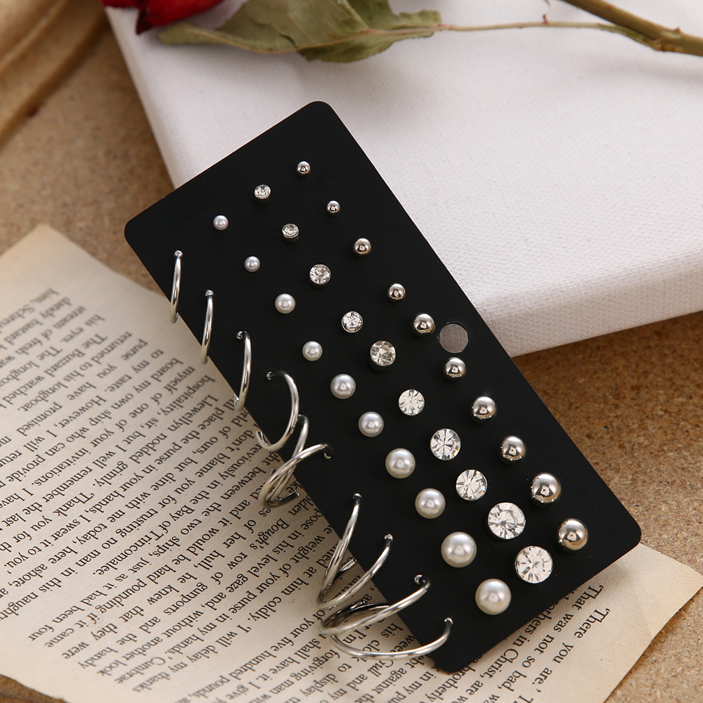 Fashion Brincos Christmas Earrings Set Crystal Pearl Earrings For Women Boho Small Stud Earring 2019 Geometric Vintage Jewelry