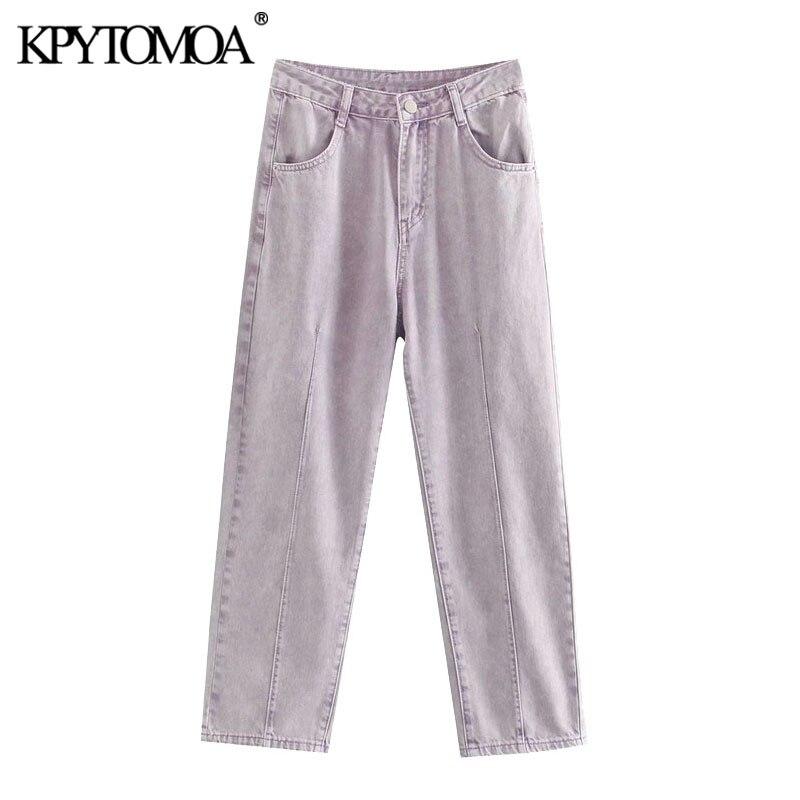 KPYTOMOA Women 2020 Chic Fashion High Waist Jeans Vintage Zipper Fly Pockets Harem Denim Pants Female Jean Ankle Trousers Mujer