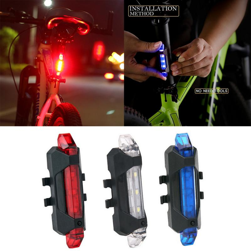 1pc Bike Bicycle Light LED Taillight Waterproof Rear Tail Safety Warning Cycling Light USB Rechargeable 4 Modes Light TSLM2