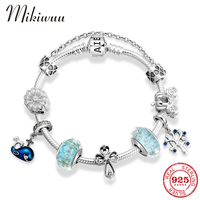 Hight Quality S925 Silver Charm Bracelet & Bangle with Flower Murano Glass Beads Blue Whale Tree Pendant Women Wedding Jewelry