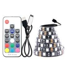 Taśma LED USB 5 V Light PC RGB 5050 50CM-5M 60 leds/m taśma USB 5 V Led Light wodoodporna taśma lampa diodowa z kontrolerem 17Key