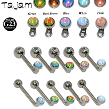 G23 Titanium Crystal AB CZ Gem Internally Threaded  Surface Barbell Micro Dermal Anchor 14G Silver Color  Body Piercing Jewelry 1pc g23 titanium surgical steel dermal anchor skin diver base surface piercing micro retainers hide it implants body jewelry 16g