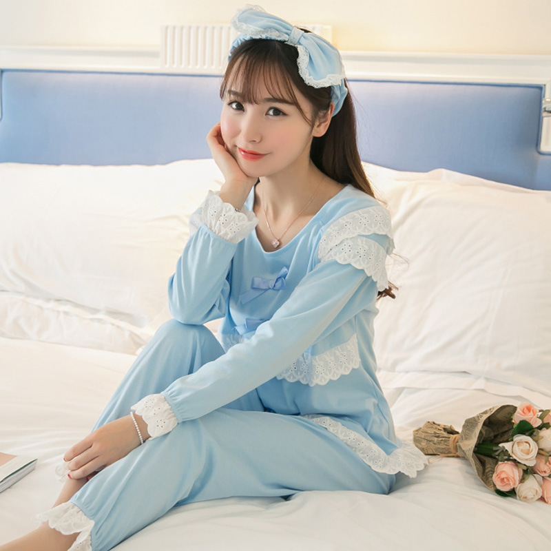 Long Sleeve Pajamas 2018 Spring And Autumn New Products Lace-up High Quality Combed Cotton Comfortable Homewear Set Recruit Agen