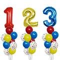 10 шт./компл. фольгированные воздушные шары с номером темы «собачьи лапы», латексные воздушные шары, Детские шары на день рождения, праздвече...