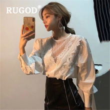 RUGOD Sexy lace mesh women blouse Fashion puff sleeve office ladies shi