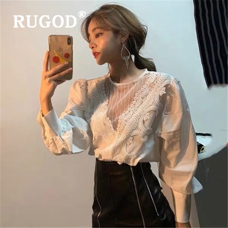 RUGOD Sexy Lace Mesh Women Blouse Fashion Puff Sleeve Office Ladies Shirts Casual Style White Blouses Spring New Tops 2020