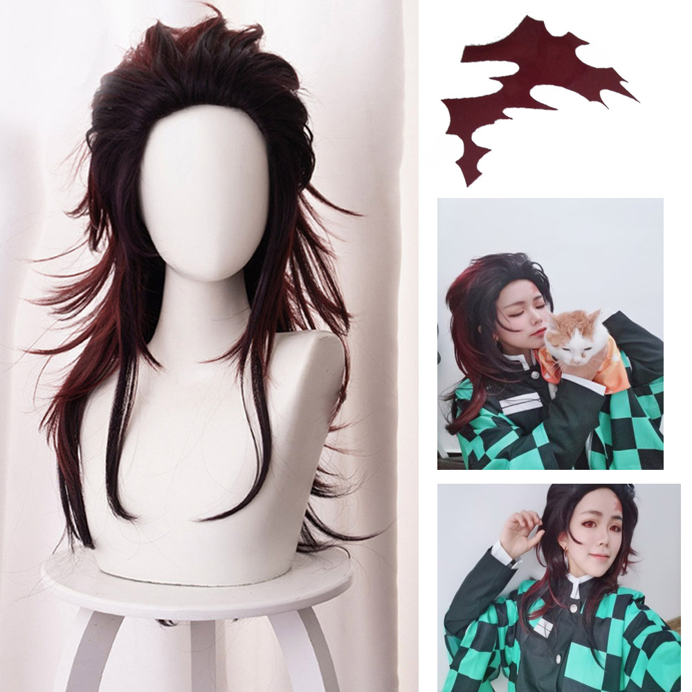 Demon Slayer Kimetsu No Yaiba Kamado Tanjirou COSPLAY Costume Wig Sexy Reversal Female Long Brown Hair Free Tattoo Sticker Cap