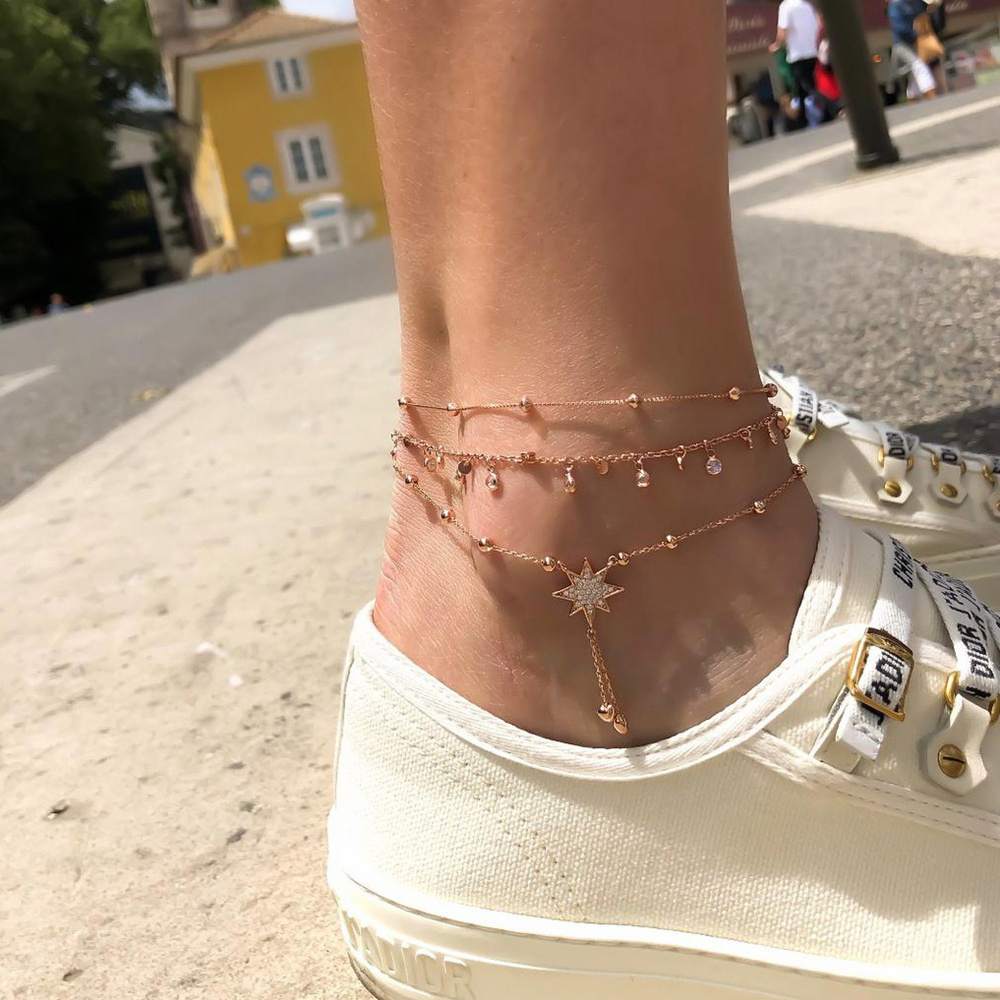 XIYANIKE Bohemia Multilayer Crystal Anklet Set Fashion Star Ankle Bracelets for Women Summer Beach Foot Jewelry Leg Chain Anklet
