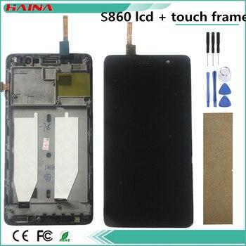 5.3 بوصة 1280x720 مع الإطار و lcd الهاتف لينوفو S860 LCD تعمل باللمس محول الأرقام لينوفو S860 عرض استبدال أجزاء