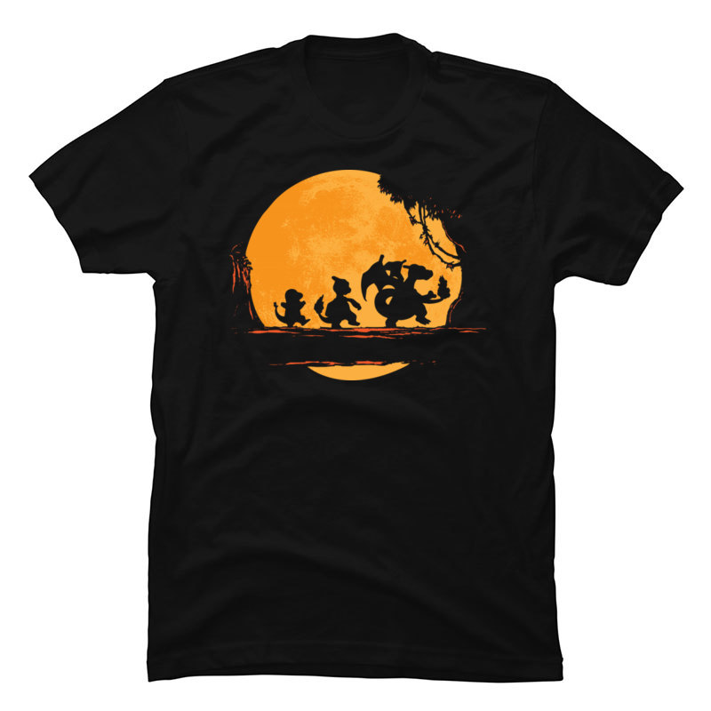 Pokemon Fire Charmander Walk Moon Man Tops Shirt Stranger Things Moon 3D Printed Sweatshirts Newest Short Sleeve T Shirts Men