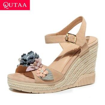 QUTAA 2020 Kid Suede Fashion Platform Sandals Summer Open-toed Flowers Ladies Pumps Wedge High Heel Buckle Women Shoes Size34-39