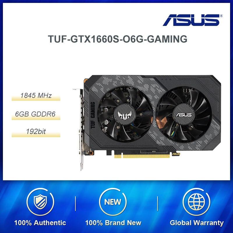 ASUS TUF Gaming GeForce®Игровая Видеокарта GTX 1660 O6G GDDR6, высокая частота обновления обеспечивает превосходную игровую карту FPS