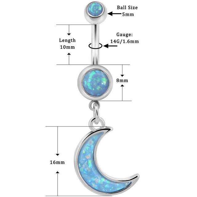 Купить кольцо с опалом и луной для пирсинга тела ювелирное изделие картинки