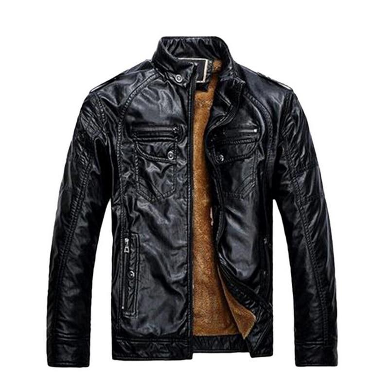 H13cc3177d3af4c09a6b32d14fffbf49du Luxury 2019 Leather Jackets Men Autumn Fleece Zipper Chaqueta Cuero Hombre Pockets Moto Jaqueta Masculino Couro Slim Warm Coat