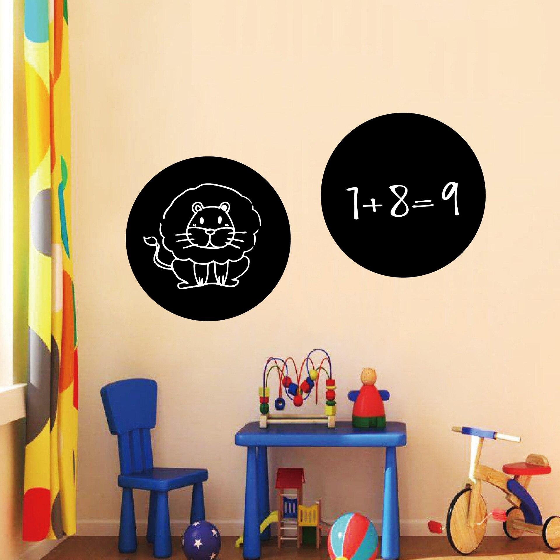 Настенная Наклейка для классной доски, водонепроницаемая самоклеящаяся круглая доска для сообщений, детская картина, обучающая доска, накл...