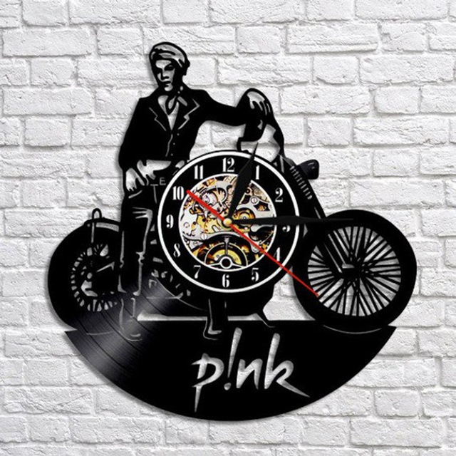 Motorcycle Gramophone Record Hanging Clock Wish EBay Amazon  Hot Selling Hot Selling Models