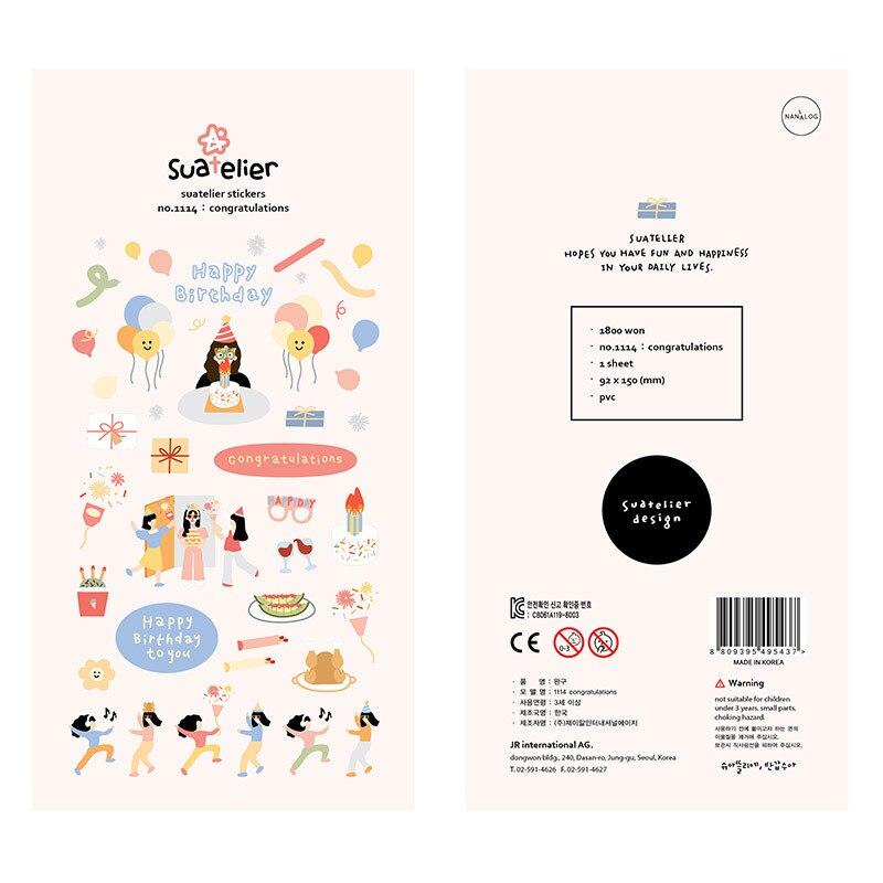 Korean Import Brand Sonia Kawaii Happy Birthday Party PET Stickers Scrapbooking Diy Bullet Journal Cute Diary Stationery Sticker