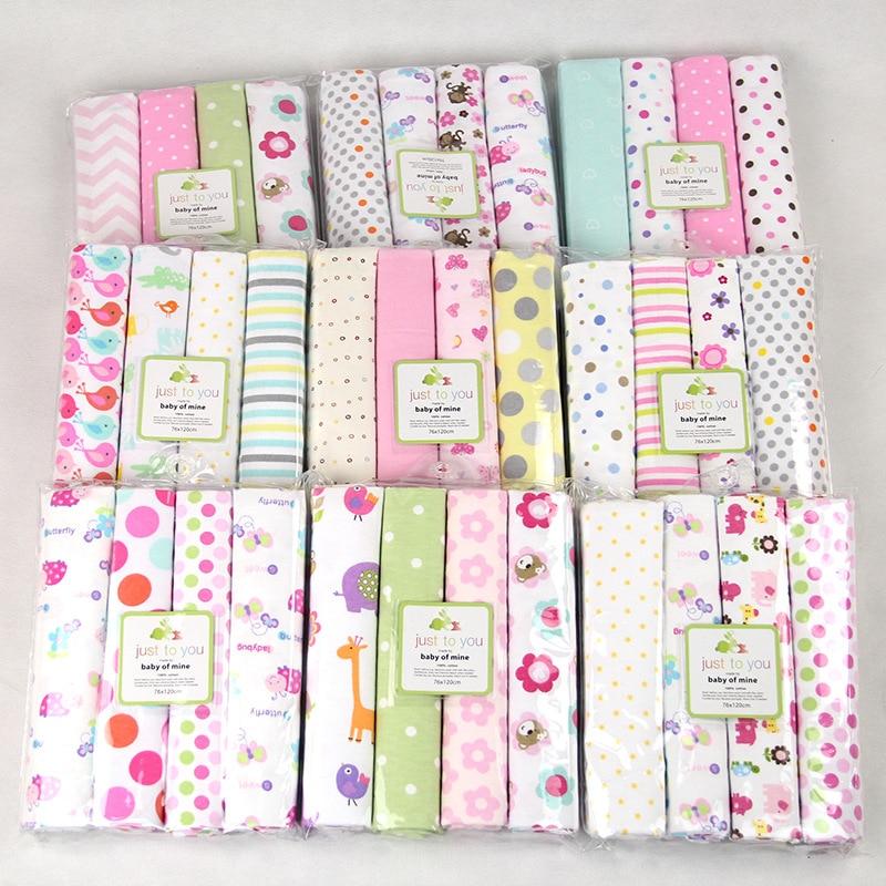 4pcs/lot Newborn Baby Bed Sheet Bedding Set 102x76cm For Newborn Crib Sheets Cot Linen 100% Cotton Flannel Printing Baby Blanket