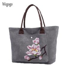 Women's Hand-painted Totes Large Capacity Canvas Shoulder Bags Female Casual Ethnic Floral Painting Travel Handbag Bolso Mujer