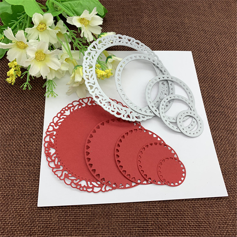 5 Pieces Round Heart-shaped Frame Background Frame DIY Scrapbook Album Paper Card Metal Decoration Embossing Die Cutting Die