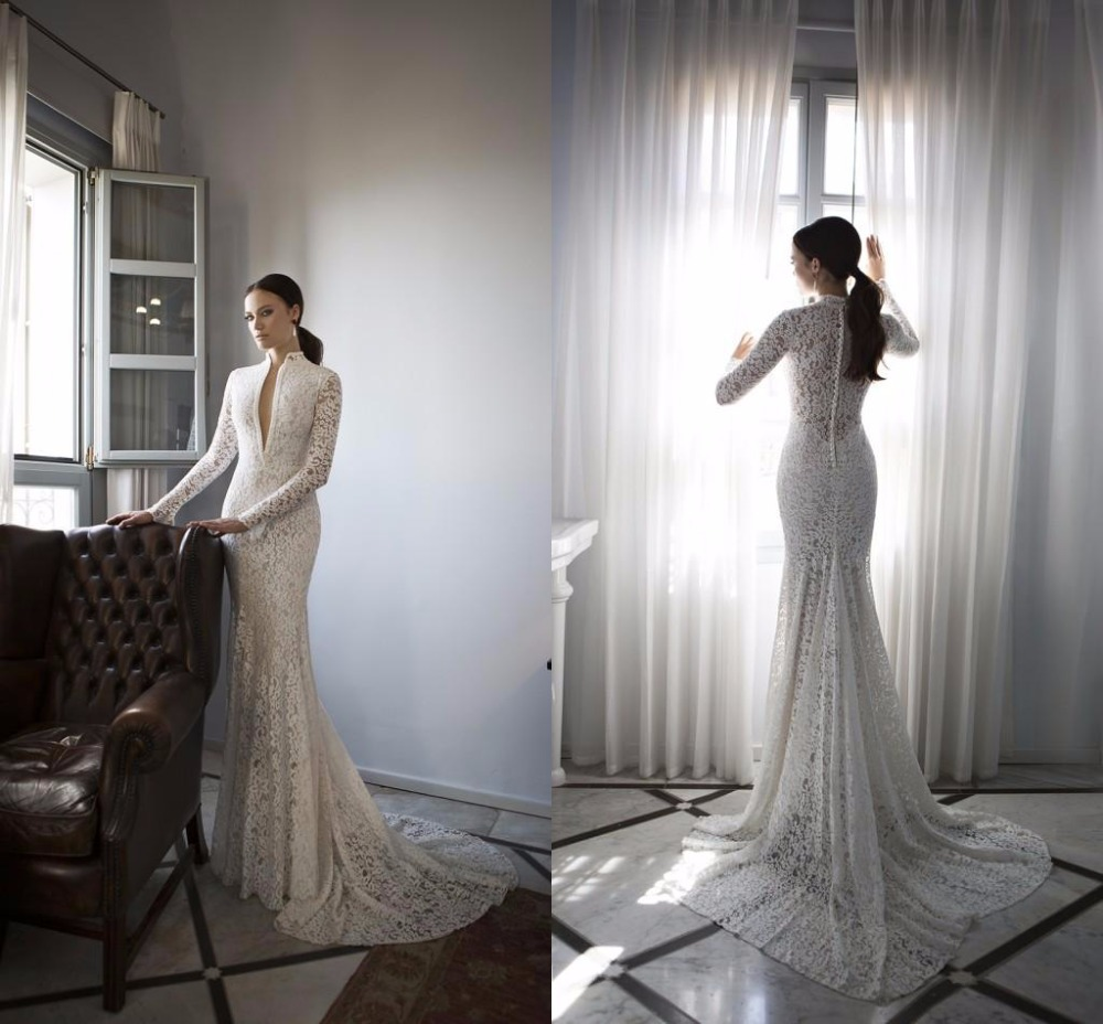 2018 Spring Long Sleeves Lace Mermaid Deep V Neck Pearls Sexy Lace Mermaid Bridal Gown Sweep Train Mother Of The Bride Dresses