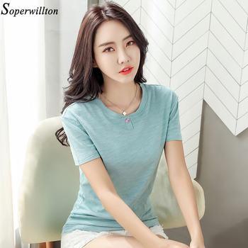 100% Cotton T Shirt Women Long Sleeve Tshirt Female 2020 Spring Autumn Ladies Tops Tee Shirt Femme Plus Size 3XL White Black G79 - short sleeve blue, M