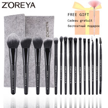 ZOREYA 15 Pcs Makeup Brushes Set Woode Foundation Blush Lembut Alami Eyeshadow Kuas Kosmetik Profesional Make Up Bulu Mata Alat(China)