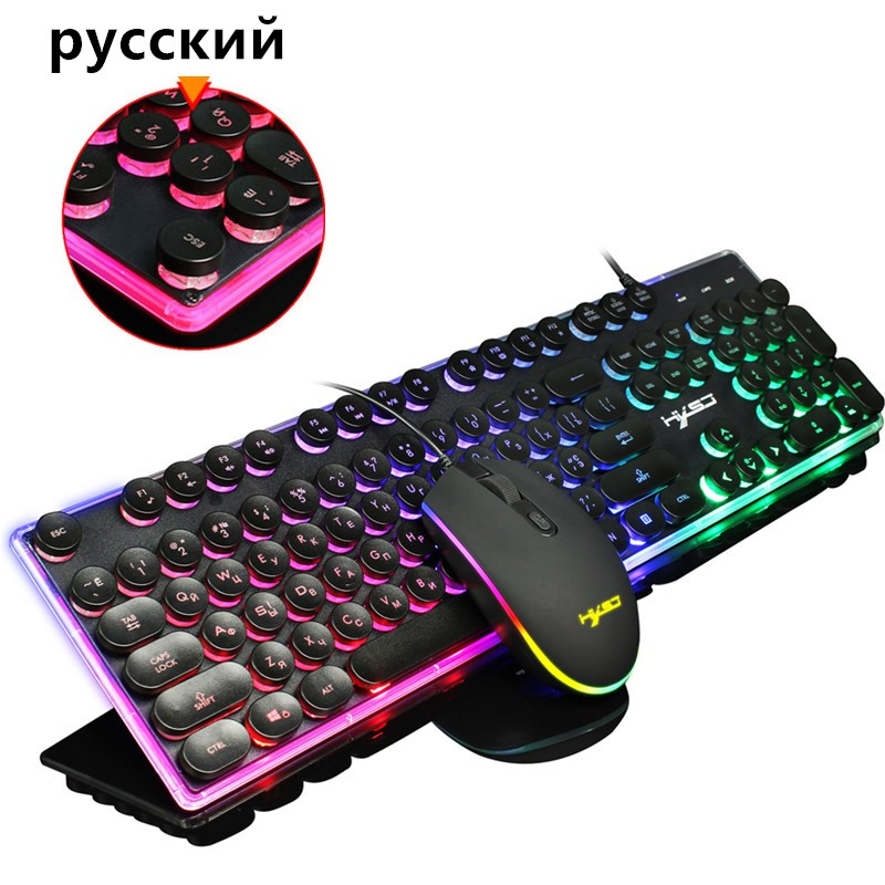 Russian Keyboard Wired Gaming Keyboard Mouse Set 104 Keys Backlight Illumination RGB Keyboards Gamer Mouse Keyboard For Computer