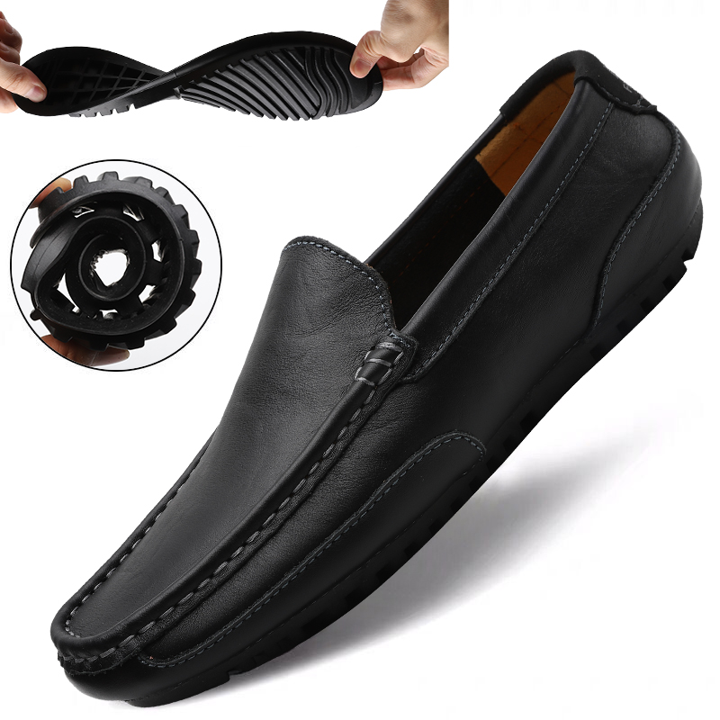 Genuine Leather Casual Shoes Men High Quality 2020 Mens Loafers Moccasins Breathable Slip On Black Driving Shoes Plus Size 37-47
