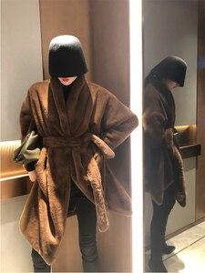 Image 2 - Femmes Trench fausse fourrure manteau peignoir ceinture femme manteaux hiver 2019 longue femmes veste