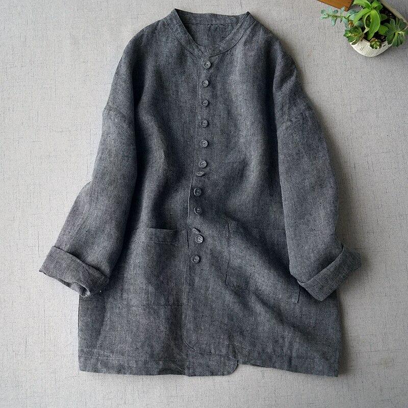 Printemps automne nouveautés femmes décontracté bref lâche grande taille gris foncé confortable lavé à l'eau mince lin Blazers manteaux
