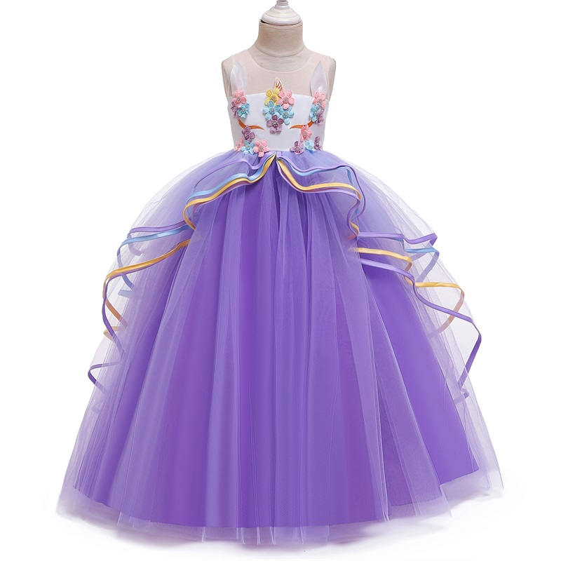 Fancy Baby Girl Rainbow Unicorn Girls Dress Party Elegant Children Kids Long Tutu Gown Princess Dresses Teen Girl 10 12 14 Years 5