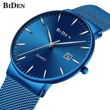 BIDEN Top Brand Male Watch Trendy Reloj Hombre Full Blue Quartz Reloj Mesh Steel Strap Water Resistant Date Fashion Wristwatch все цены