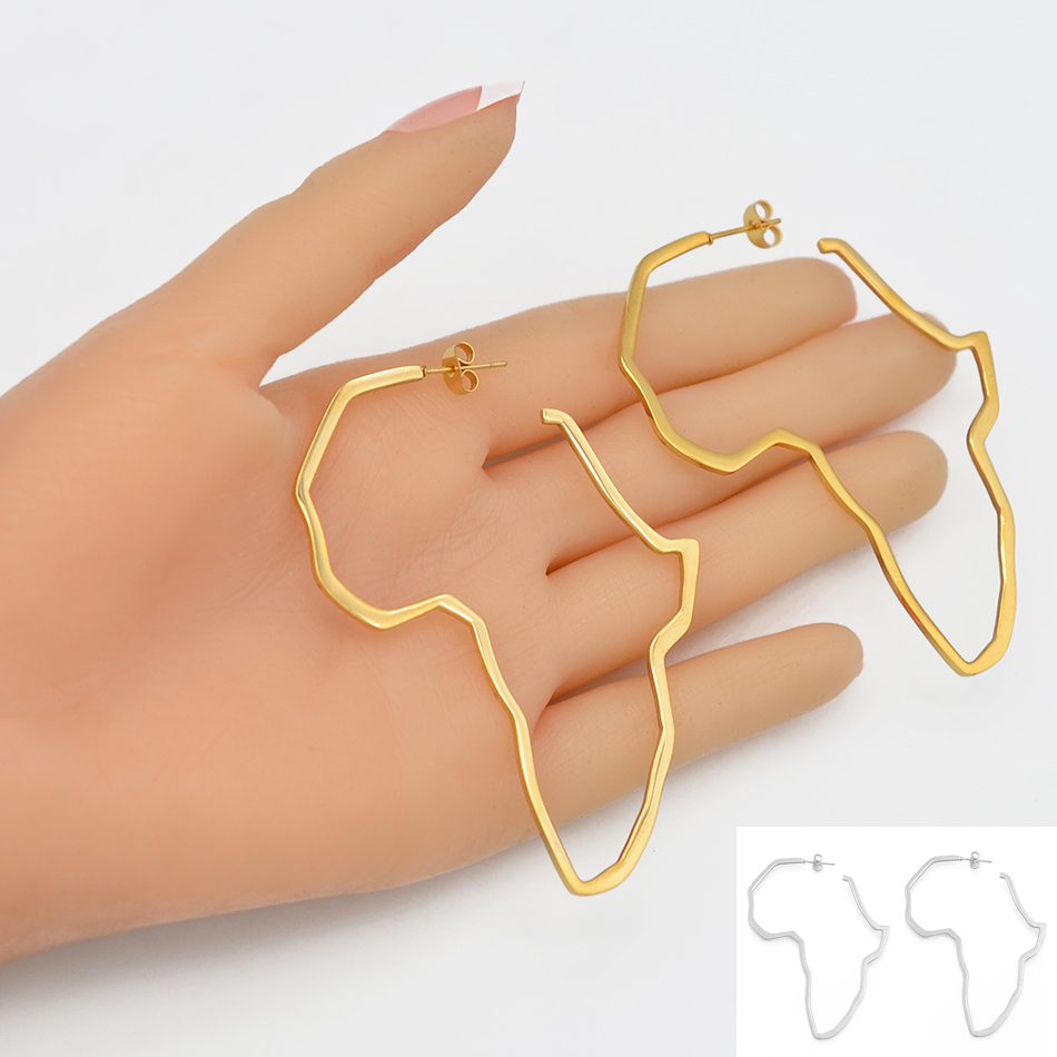Anniyo African Map Big Earrings Exaggerate Larger Earring Gold Color Africa Ornaments Traditional Ethnic Hyperbole Gift #103721