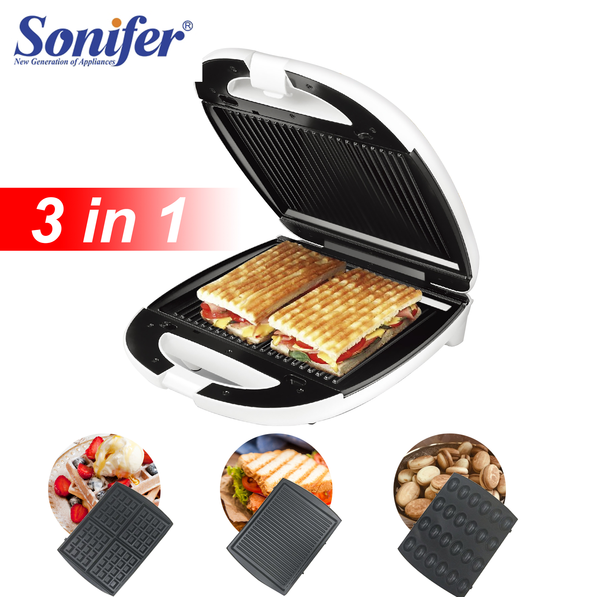 1200W Electric Waffles Maker Sandwich Machine Bubble Egg Cake Oven Kitchen Breakfast Bubble Waffle Donuts Multi-baker Sonifer