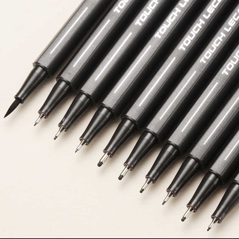 10Pcs/set Pigment Liner Micron Ink Marker Pen 0.05 0.1 0.2 0.3 0.4 0.5 Brush Different Tip Black Fineliner Sketching Drawing Pen