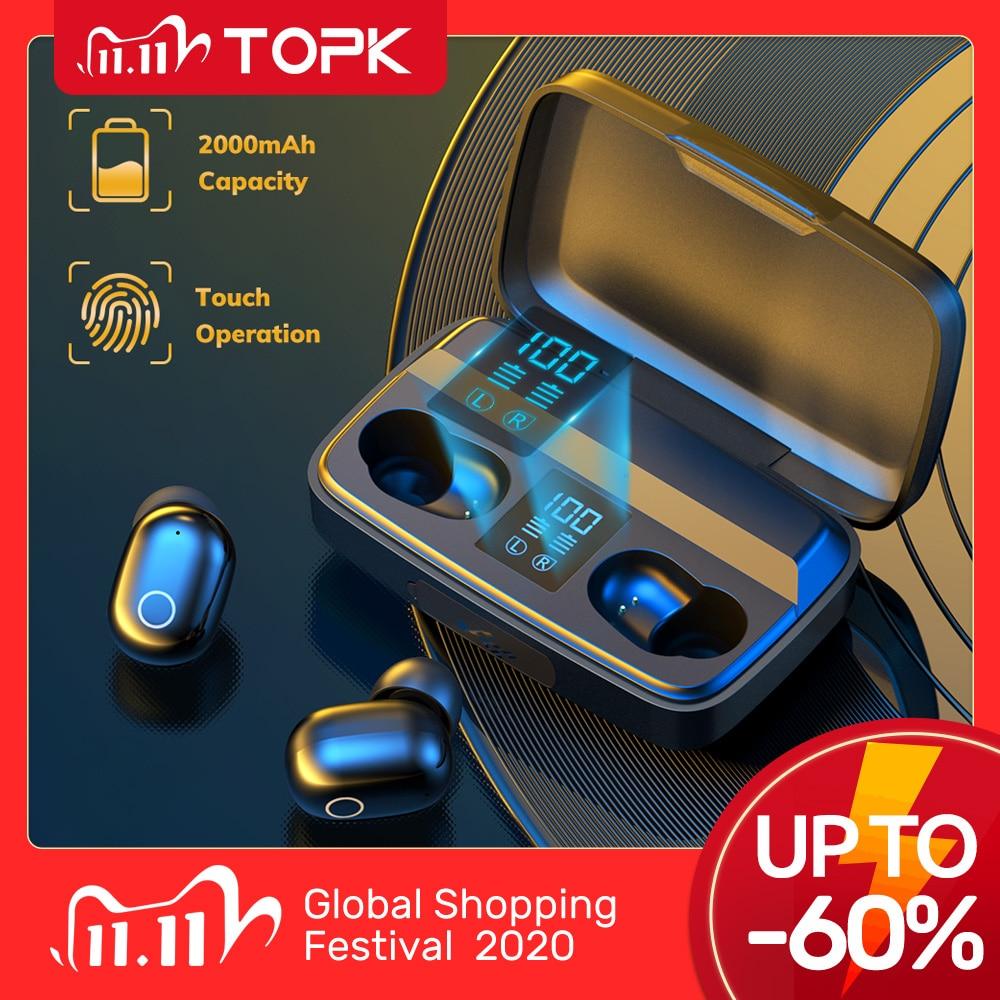 TOPK TWS Bluetooth V5 0 Wireless Headphones Fingerprint Touch Bluetooth earphone 2000mAh Charging Box Sports Waterproof earbuds