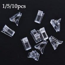 O transporte da gota 1/5/10 pçs dicas do prego clipe transparente dedo construção gel extensão unhas arte manicure ferramenta