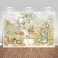 Виниловый фон для фотосъемки с изображением кролика Питера с его животными друзей 7x5 футов для новорожденных Овощной сада
