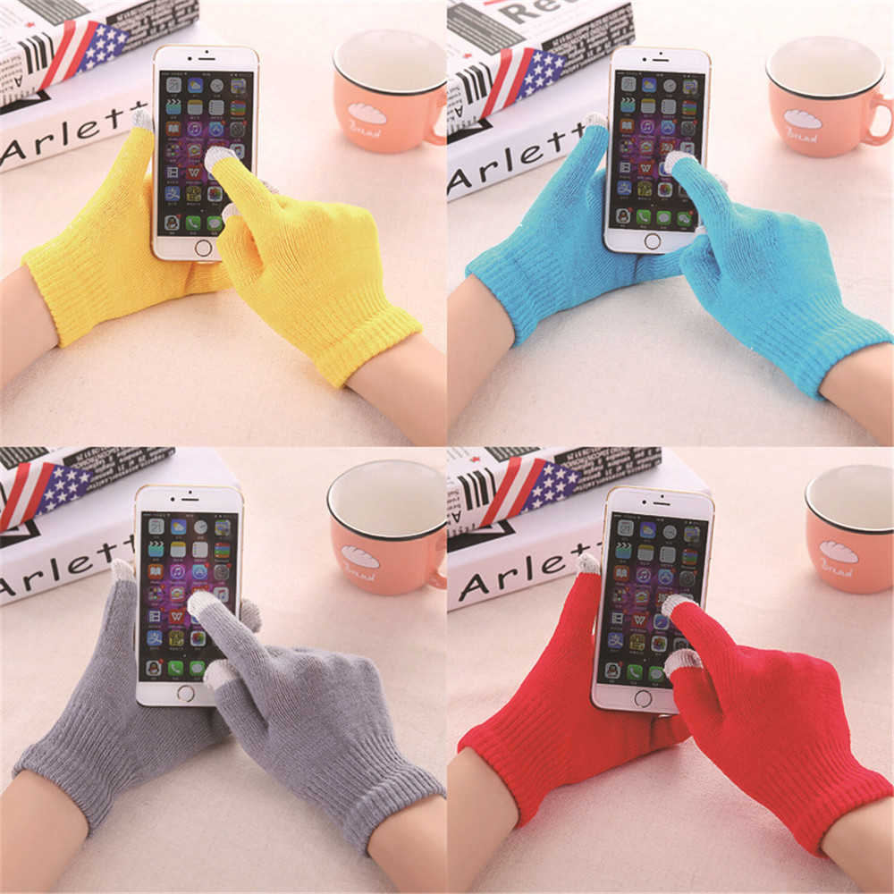 Unisex Winter Warm Capacitive Knit Gloves Hand Warmer Playing Mobile Keep Warm For Winter Mittens Gloves Soft Gloves