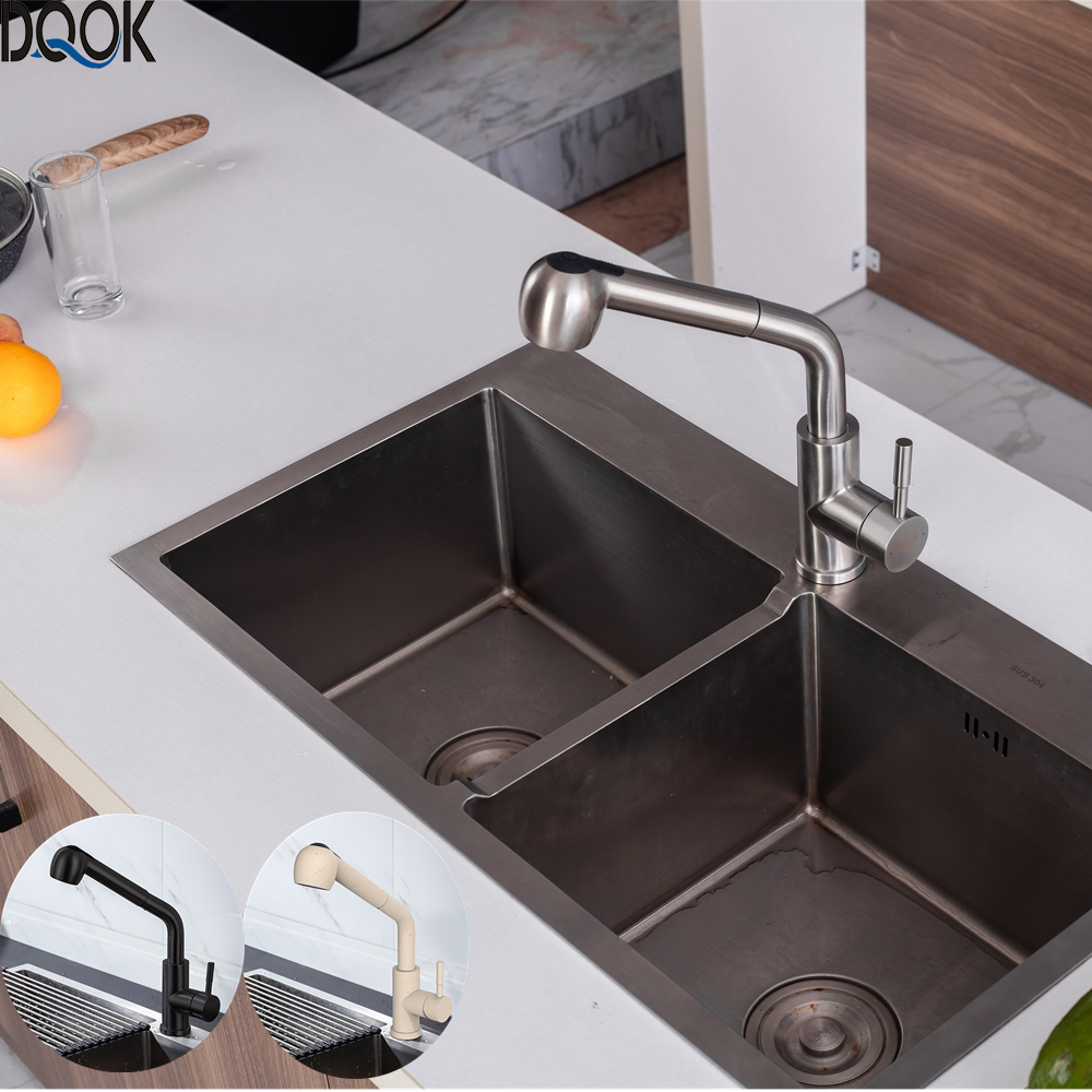 Best Offers DQOK Brushed Nickel Kitchen Faucets Single Hole  360 Degree Swivel Pull Out Black Kitchen Sink Faucet Mixer Stainless Steel Tap 4000388696600