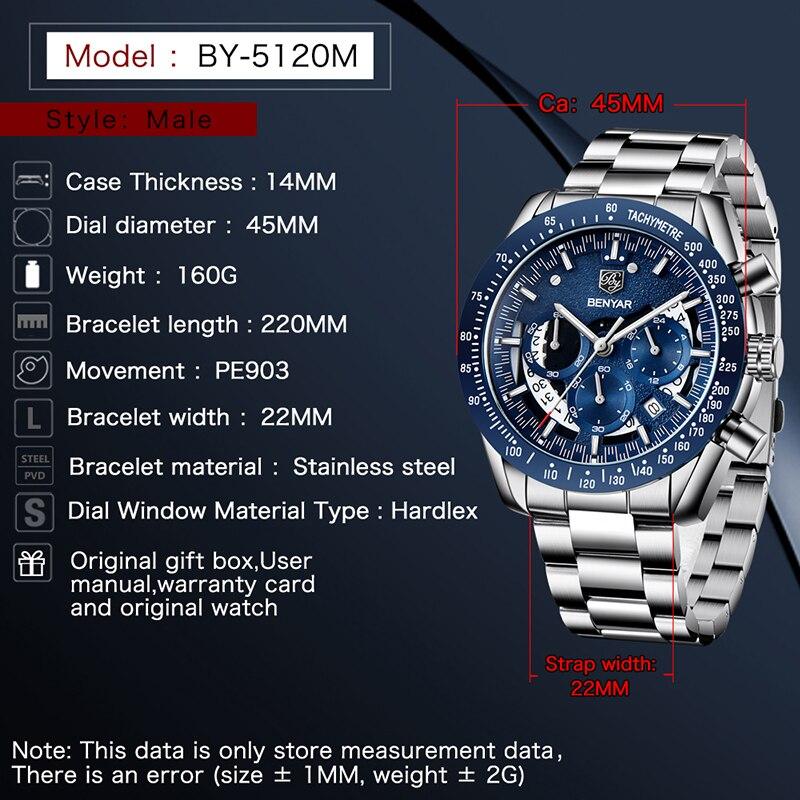 Relógios de Quartzo Relógio de Pulso Topo da Marca de Luxo Relógio de Moda Masculino Benyar Militar Esporte Preto Cronógrafo Relógio