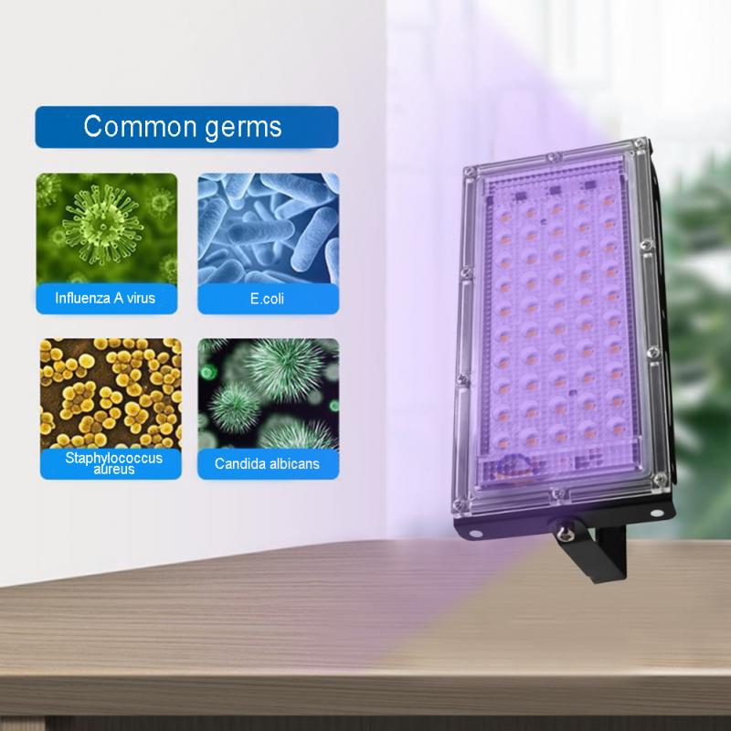 50W Disinfection UV Lamp Home Living Room LED Ultraviolet Germicidal Disinfect Virus Lights Mite Purifying Sterilizer Security