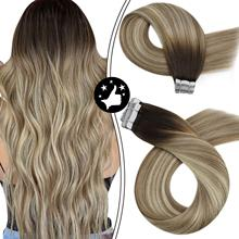 Hair-Extensions Human-Hair Balayage Invisible-Tape Tape-In Remy Double-Sided for Hair-Dark-Root