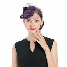 Fedoras Hat Purple Fascinator For Women Elegant Church Wool With Veil Bow Headpiece Wedding Fashion Headwear Lady Tea Party Cap