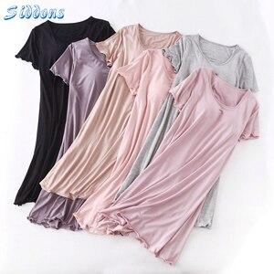 Image 5 - SIDDONS קיץ כותנות לילה כותנה O צוואר נשים Sleepdress עם כרית שד Nightwear שינה טרקלין כותונת בית שמלה בתוספת גודל