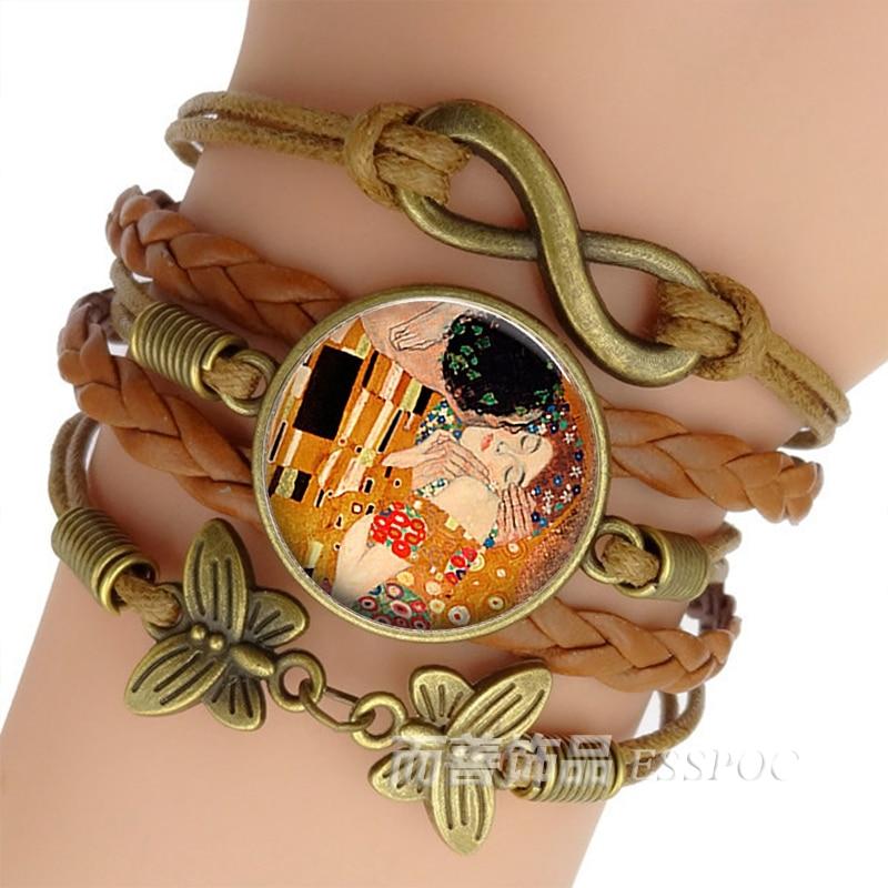 Gustav Klimt The Kiss Bracelet Handmade Infinity Leather Charm Bracelets Klimt Art Jewelry Valentine Gift