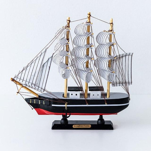 creative sail boat model living room decoration table set