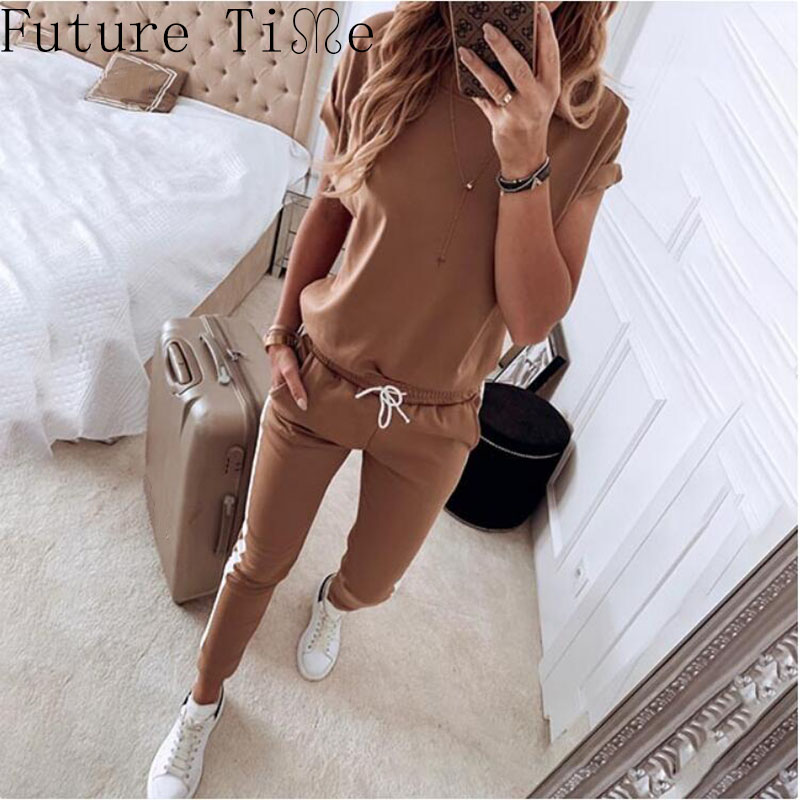 Women Solid Top Suit Drawstring Design Pant Sets 2 Pieces Spring Sportwear Ladies Elastic Tracksuit Female Trousers