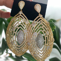 Dazz Luxury Large Earrings Plant Full Zircon Hollow Out Dangle Jewelry Bridal Women Wedding Party Nigeria Fashion Accessories
